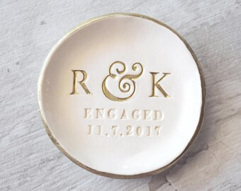 ENGAGEMENT RING DISH personalized ring holder, gold initials dish, engagement gift, engaged ring dish, rose gold ring holder, ceramic plate