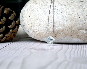 Aquamarine necklace. Minimalist silk necklace with aquamarine pendant. Aquamarine briolette pendant. Gifts for her