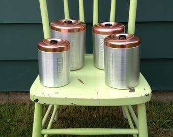 Canisters Copper Tops Canister Set Vintage Canisters French Kitchen Canisters 1950's Canisters Aluminum Canisters Silver Canisters
