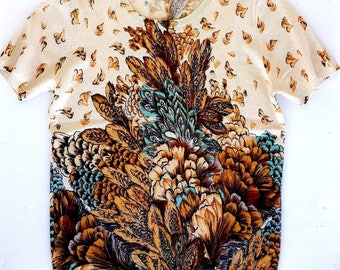 NEIMAN MARCUS Cashmere Sweater Vintage peacock feathers