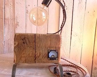 Light wood and metal vintage voltmeter-Upcycled kinfolk, steampunk, industrial, vintage - handmade - free shipping
