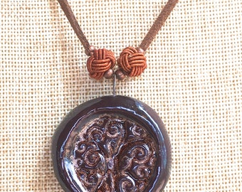 Tree of Life Necklace, ceramic aromatherapy necklace essential oil diffuser jewelry bohemian jewelry gypsy hippie earthy copper metallic