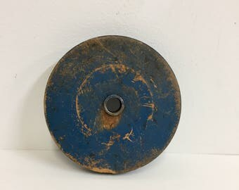 Vintage Wood Wheel/ Vintage Painted Wood Wheel/Vintage Industrial Wood