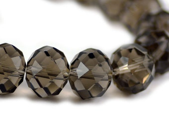 Chinese Crystal Extra Large Rondelle Smoky Gray Transparent 16x12mm