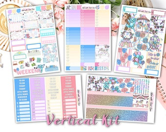 NEW FORMAT || Candy Carnival weekly kits planner stickers || Erin Condren planner vertical layout