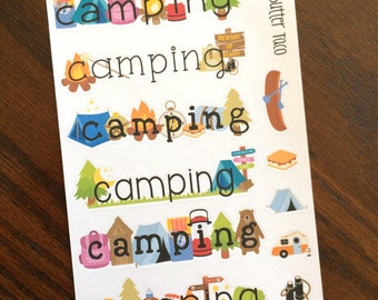 Camping Weekend Planner Stickers - Camping Stickers - Camping Planner Stickers - Summer Stickers - Weekend Banner Planner Stickers