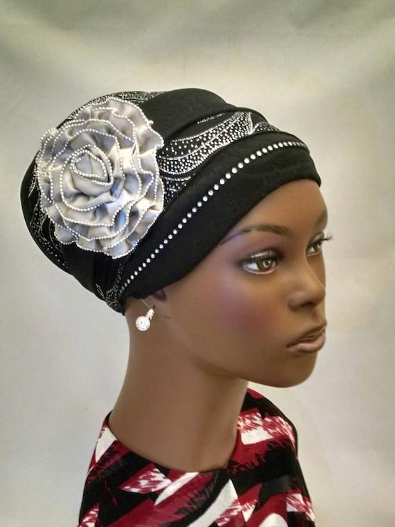 Large silver flower sinar tichel, tichels, chemo scarves, head scarves, hair snoods