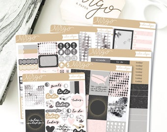 Vertical Kit - Solar Eclipse 6 Sheet Planner Stickers Kit - Space, Full Moon, August 21 Solar Eclipse - Glossy, Matte Stickers SLKV