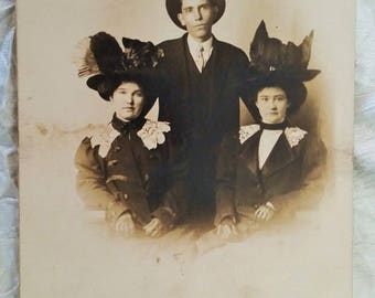 Vintage Real Photo Postcard, Man with Two Ladies in Very Large Hats