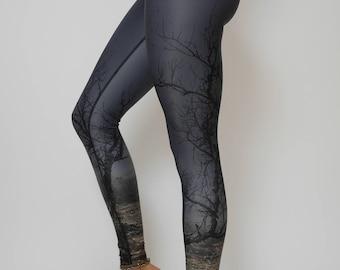 Tree Yoga Leggings, Dark Gray, Eco-Friendly Yoga Leggings, Printed Yoga Pants, Womens Yoga pants, Eco-Conscious Yoga Leggins