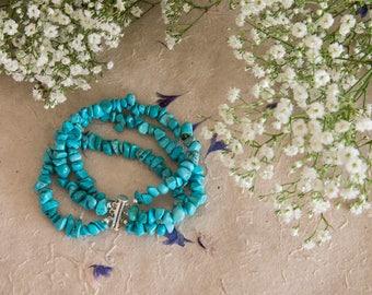 Faux Turquoise Three Strand Bracelet