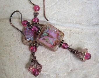 SummerJewelry PinkEarrings FlowerEarrings CzechGlass Dangle Drop GiftForHer Handmade