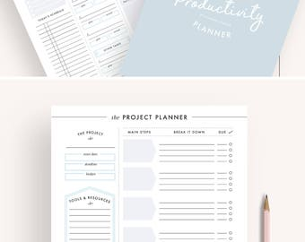 productivity planner, project planner, printable planner, planner inserts, a5 planner inserts, letter size, A4, productivity pack