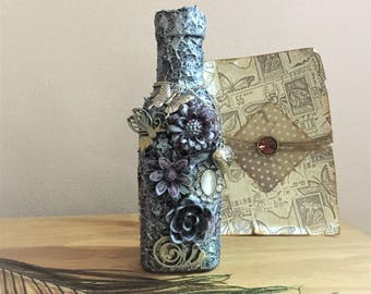 Glass bottle, Mixed media bottle, Flower bottle, Silver bottle, Gothic bottle, Steampunk bottle, Altered art, Mixed media art, Ooak