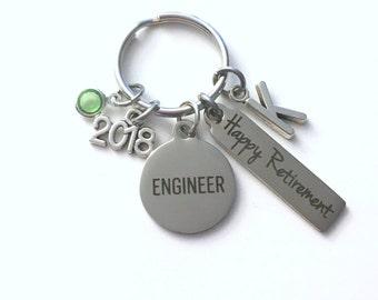 Retirement Gift for Engineer Keychain, 2018 Key Chain Civil Mechanical Keyring him her men women present Initial Letter Industrial Chemical