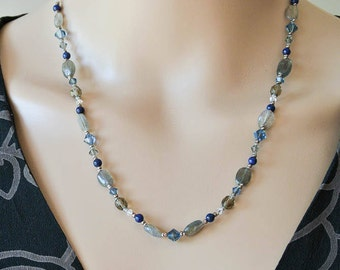 Labradorite Beaded Necklace with Sodalite, Swarovski Crystal and Sterling Silver - Sodalite Gemstone and Crystal Necklace