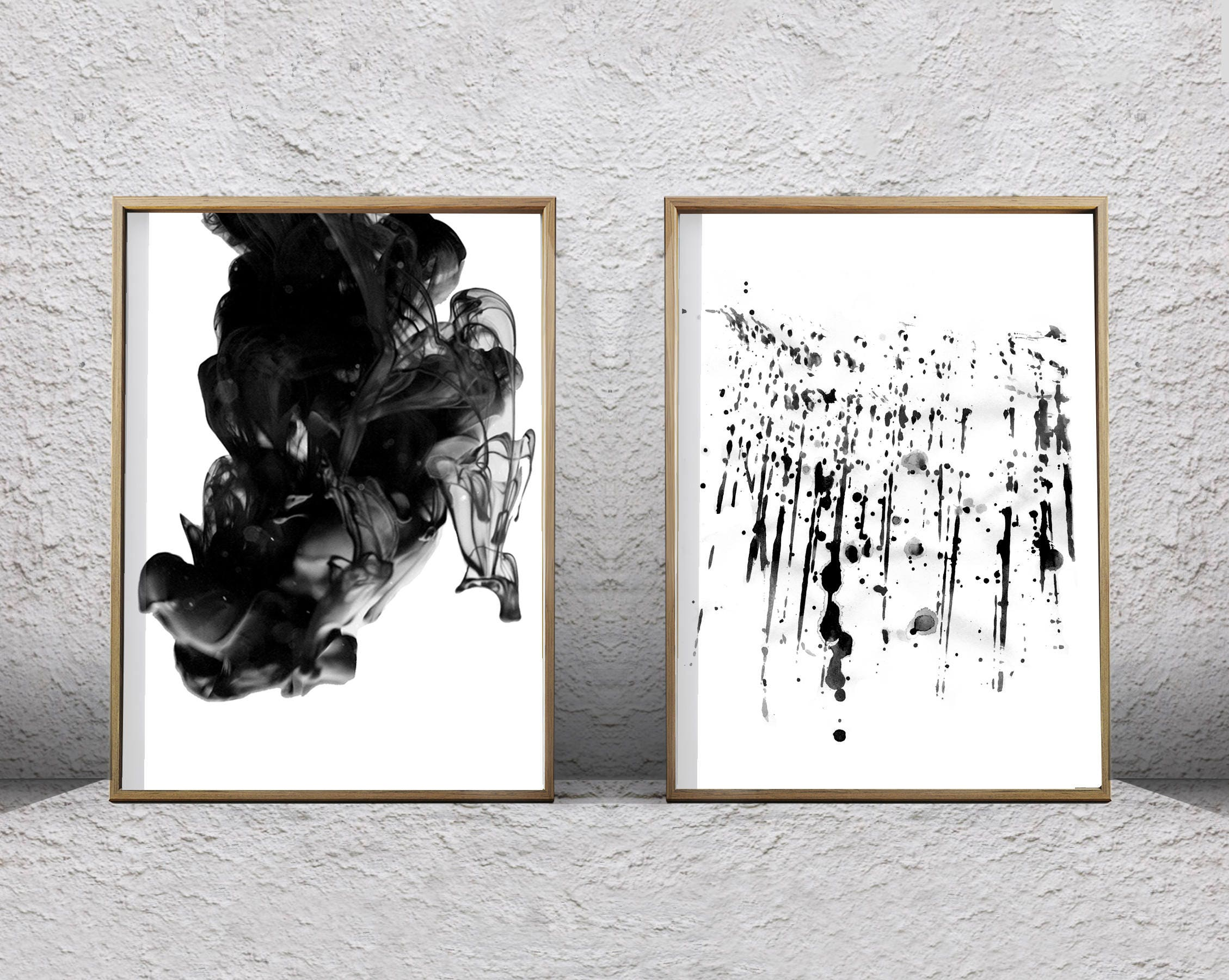 black white wall art abstract prints set of 2 ink spill paint. Black Bedroom Furniture Sets. Home Design Ideas