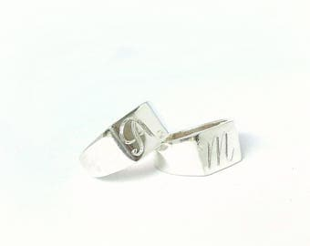 Initial monogram ring, personalized ring, initial ring, silver name ring, monogram initial ring, ring band, sterling silver ring