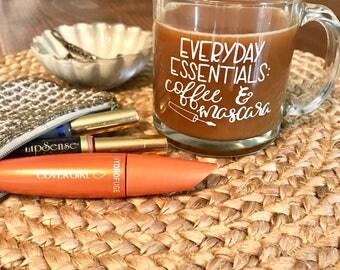Coffee and mascara mug, glass mug, 13 oz mug, coffee lover gift, coffee mug, gifts for mom, gifts for coffee lovers, mug gift, gifts for her