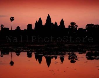 Angkor Wat  in Red Reflection, Angkor Wat Art Print, Cambodia Photography, Asia Art, Angkor Wat Poster, Angkor Wat Wall Art, Landscape