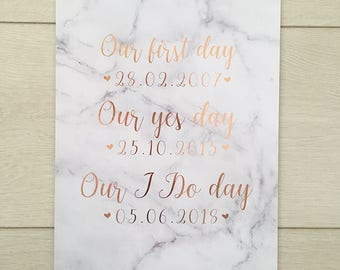 Special Dates foil Print real foil print quote art foiled print A4 new home anniversary engagement wedding gift