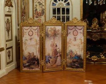 Gold screen Miniature style Louis XV period 18th - 1/12 scale - prop Decoration Dollhouse Miniature French