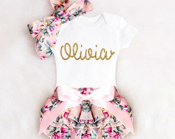 Handmade personalized baby gifts etsy personalized newborn girl take home outfit personalized baby girl going home outfit newborn baby girl clothes negle Images