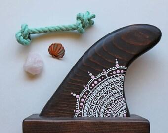 Bohemian Handpainted Mandala Wood Surfboard Fin -Boho Bay Collection- Beach Art- Surf Fin-Boho Decor