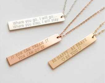 Quote Necklace, Custom Quote Necklace, Quote Jewelry, Inspirational jewelry, Vertical bar necklace, Motivational Jewelry, Inspiring• NBV38x6