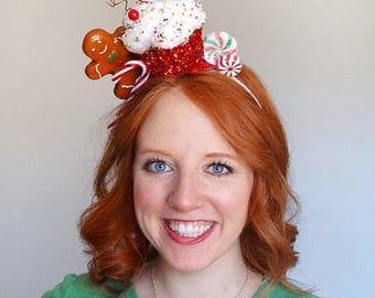christmas cupcake headband, christmas headband adult, gingerbread decor, candy cane headband, Ugly Sweater Party, tacky christmas headpiece