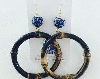 Bamboo Chinoiserie Earrings   DARK BROWN, blue and white, hoops, gold, statement earrings, round, Designs by, Laurel Leigh