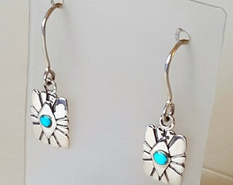 Turquoise Southwest Earrings Sterling Silver