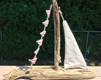 Driftwood Sailboat,Handmade Ivory and Red Ticking Stripe Flags Driftwood Sailboat,Nautical Kids Room,Red Sailboat Decor,Sailboat Theme Decor