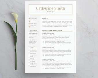 Resume Template 4 page | CV Template + Cover Letter for MS Word | Instant Digital Download | 'Catherine'