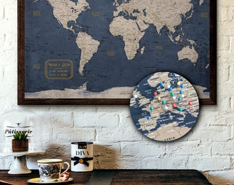 World map pin board etsy large world map push pin executive style 24x36 customizable pin board mounted on 3 gumiabroncs Image collections