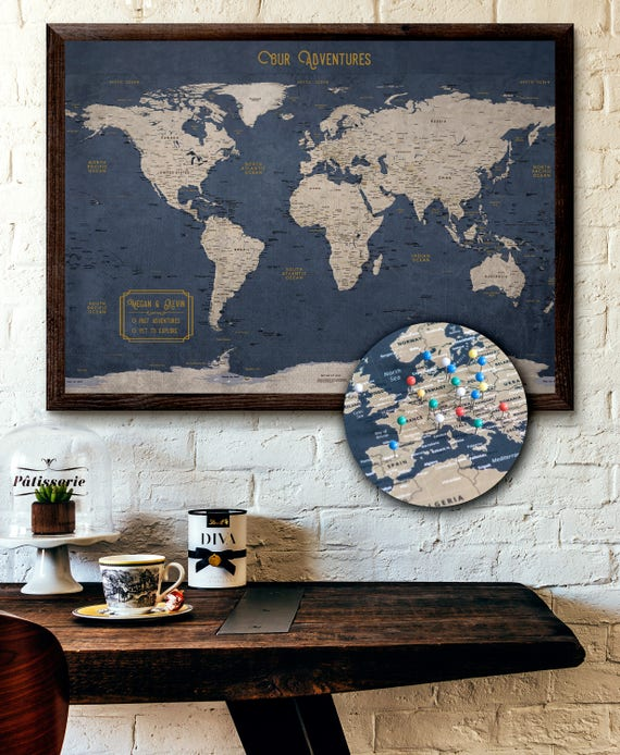 Large world map push pin executive style 24x36 like this item gumiabroncs Images