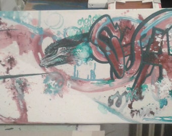 """Acrylic painting on canvas 100x30 """"The Dragon and the knight"""""""