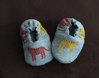 Soft Sole Reversible Crib Shoe jungle tiger print jersey fabric baby booties baby shoe baby slippers baby shoes baby gift  baby mocs