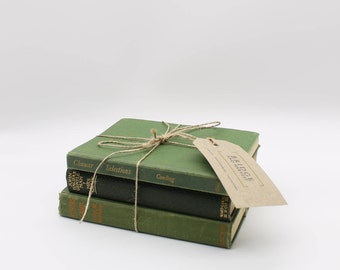 Set of Three, Hardcover Antique Green Books/Display Books