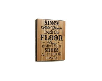 no shoes sign, carved wooden sign