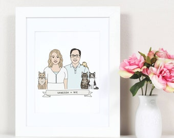 Couple Portrait with Pets. Family Portrait with Pets. Custom Portrait. Pet Portrait. Couple Portrait Illustration. Couple Portrait Custom.