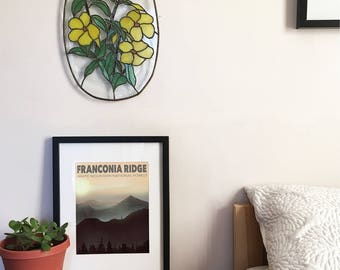 Franconia Ridge Illustration - Hiking - New Hampshire - Travel Poster - 4000 Footers