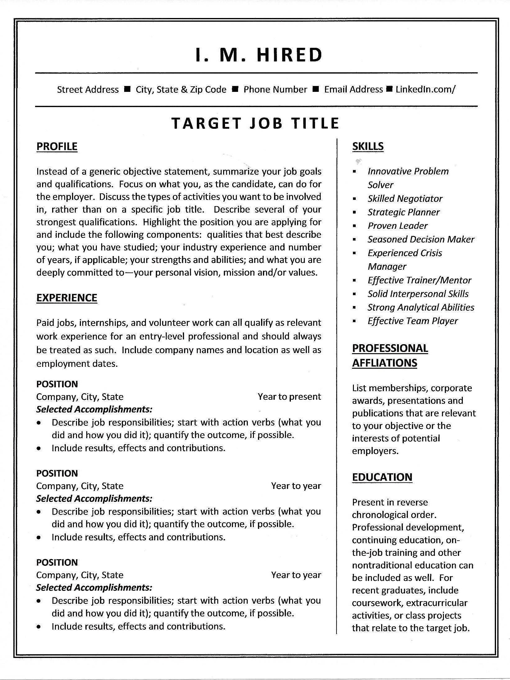 combination resume template  u0026 sample