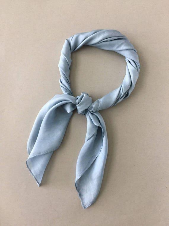 "INDIGO BLUE Natural Dyed Silk Scarf (33"" x 33"" Square)"