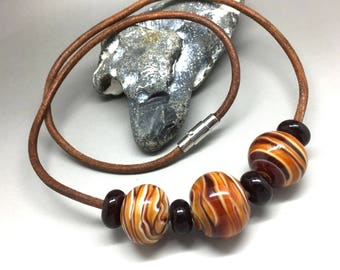 Chain, leather necklace, necklace, neck jewellery, glass jewelry, lampwork bead
