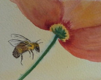 Painting, Watercolor, Wall Art, home Decore, Busy Bee, Matted Ready to Frame