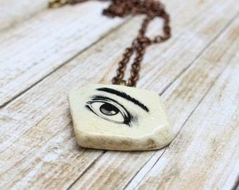 Evil Eye Talisman On Sea Pottery, Handmade Shipwreck Pottery Eye Necklace, Evil Eye Amulet, Kintsugi Jewelry, Wabi Sabi Jewelry