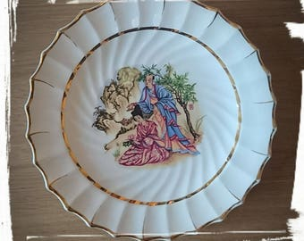Vintage Oriental Japanese Plate GEISHA WOMEN with MAN Ornamental Decorative Plate Collectable Plate