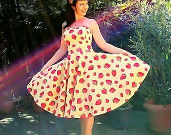 Pinup dress 'Strawberry Vanilla', Plus size available strapeless/halter rockabilly.dress