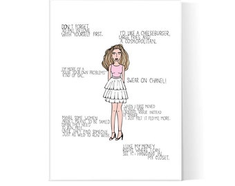 Carrie Bradshaw Quotes / Sex And The City Poster / Carrie Bradshaw Illustration/ SATC / Printable Art / Instant Download / 2JPEG Files